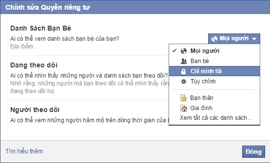 cai dat an ban be facebook