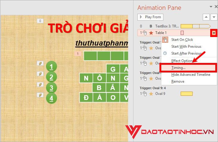 Cách tạo trò chơi ô chữ powerpoint đơn giản 7