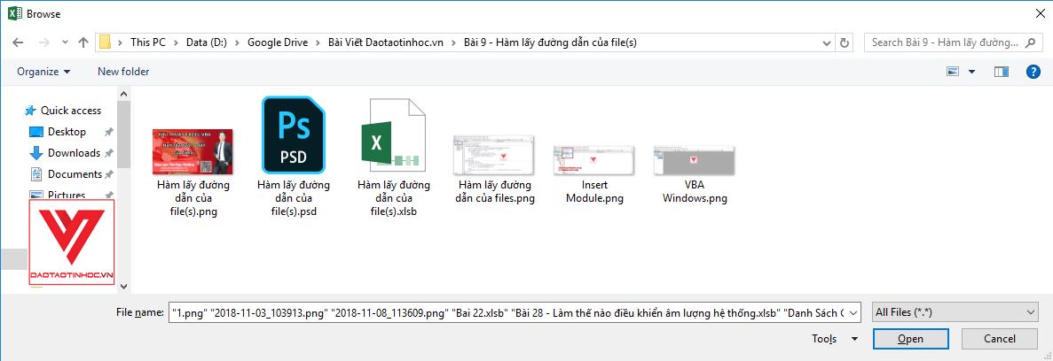 Chọn files cần lấy đường dẫn