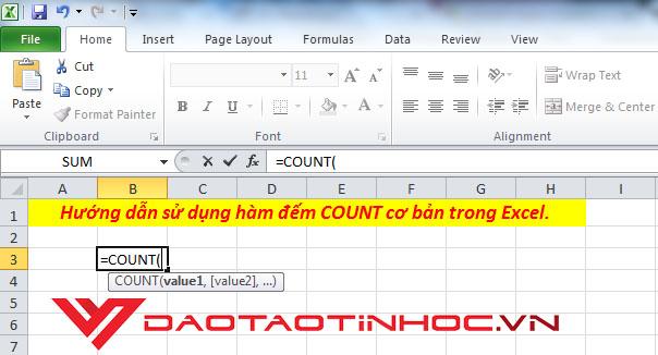 Hướng dẫn sử dụng hàm đếm COUNT trong Excel