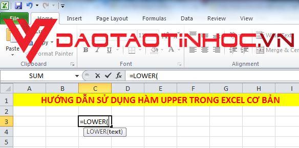 Hàm LOWER trong Excel