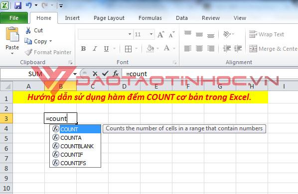 Mẹo các hàm đếm trong Excel