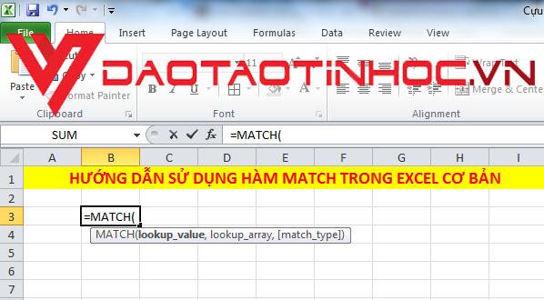 Hàm MATCH trong Excel