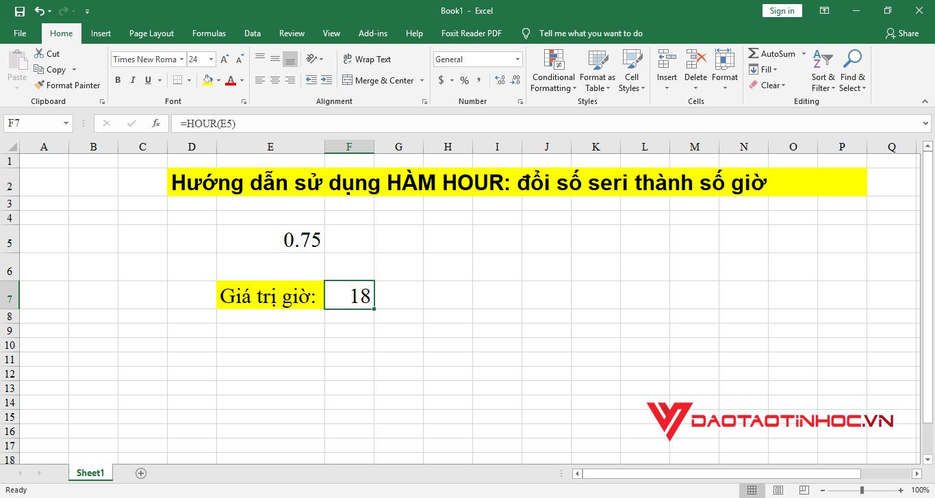 minh họa 1 cách sử dụng hàm hour trong excel cơ bản