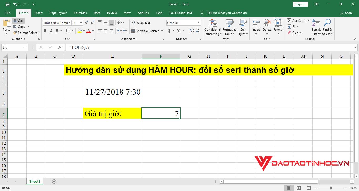 minh họa 2 hướng dẫn cách sử dụng hàm hour