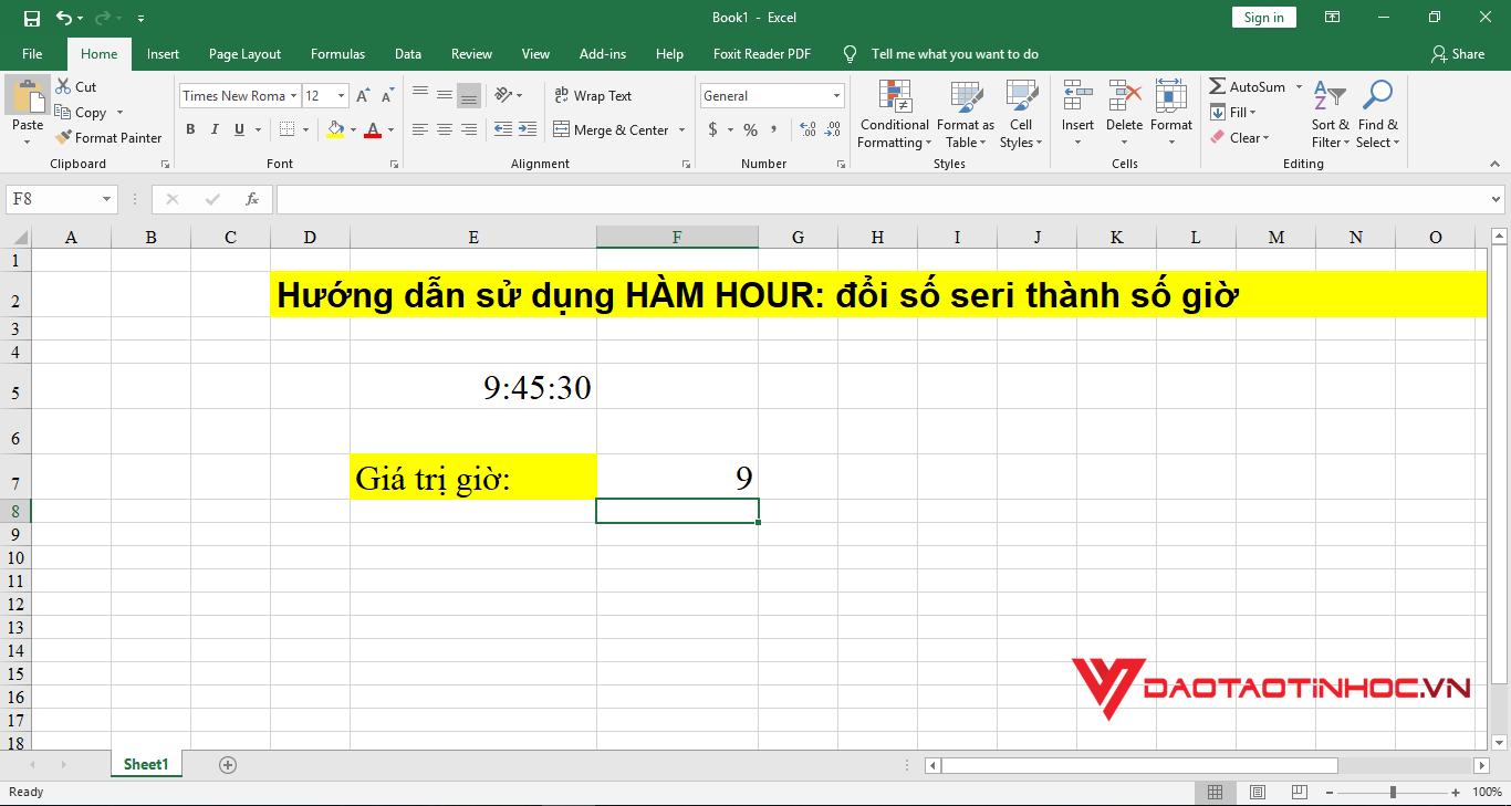 minh họa 4 cách sử dụng hàm hour
