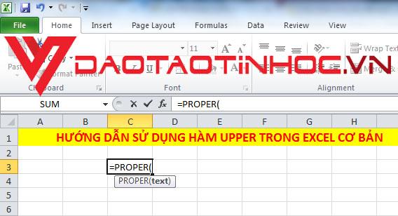 Hàm PROPER trong Excel