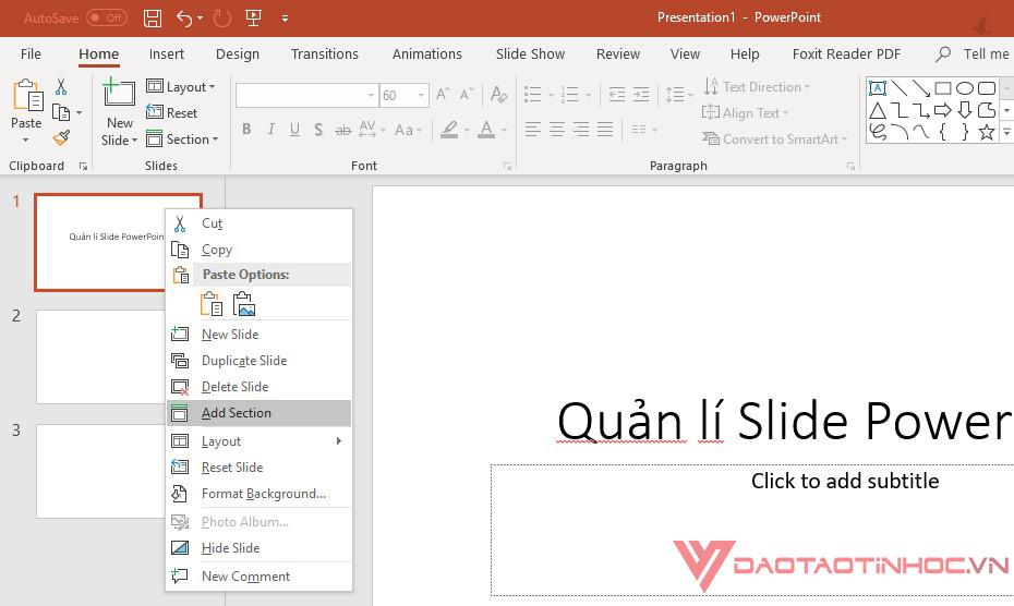 quản lý Slide Powerpoint