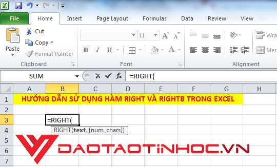 Hàm RIGHT trong Excel