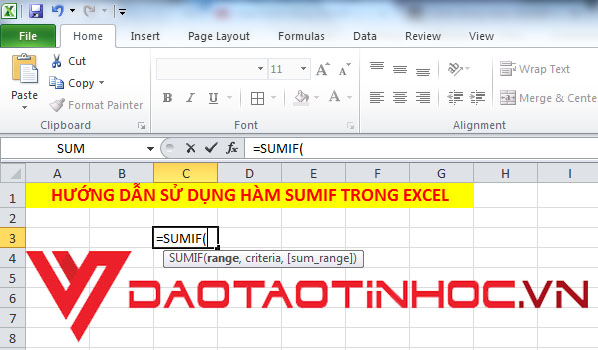 Hàm SUMIF trong Excel