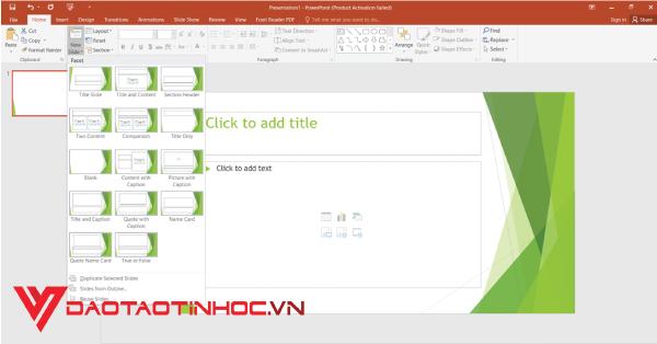 Tạo thêm slide cho bài thuyết trình