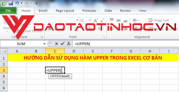 Hàm UPPER trong Excel