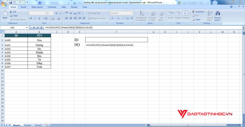 ví dụ minh họa dò tìm bằng hàm vlookup trên bảng tính khác