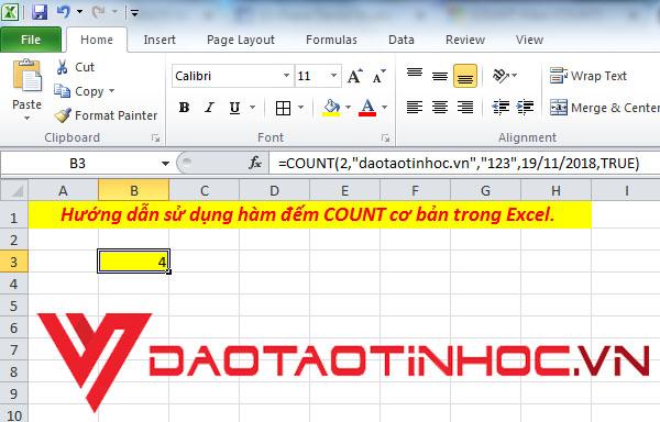 Cách sử dụng hàm COUNT trong Excel