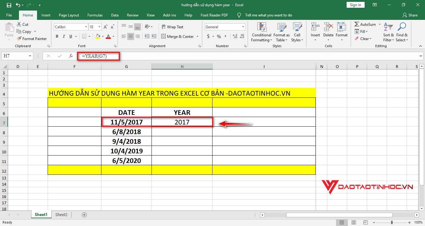 áp dụng công thức hàm year để tìm ra số năm