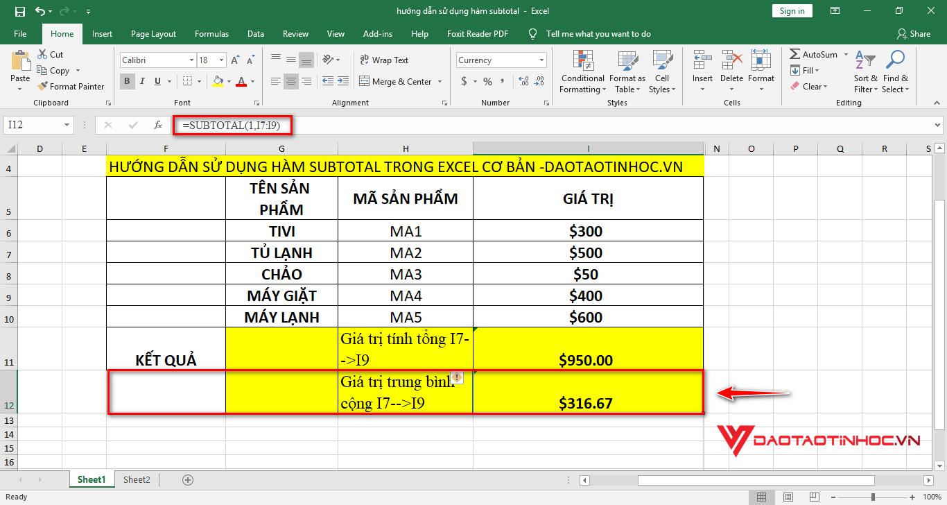 áp dụng subtotal tính giá trị trung bình cộng