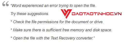 Cách khôi phục tài liệu bị lỗi hoặc bị mất trong word 2016