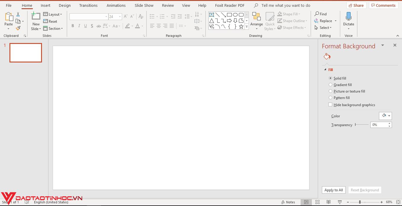 Thiết lập Backgroud trong Powerpoint đơn giản 1