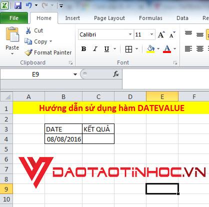 Hướng dẫn sử dụng hàm DATEVALUE