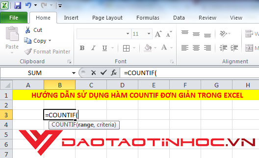 hàm COUNTIF trong Excel