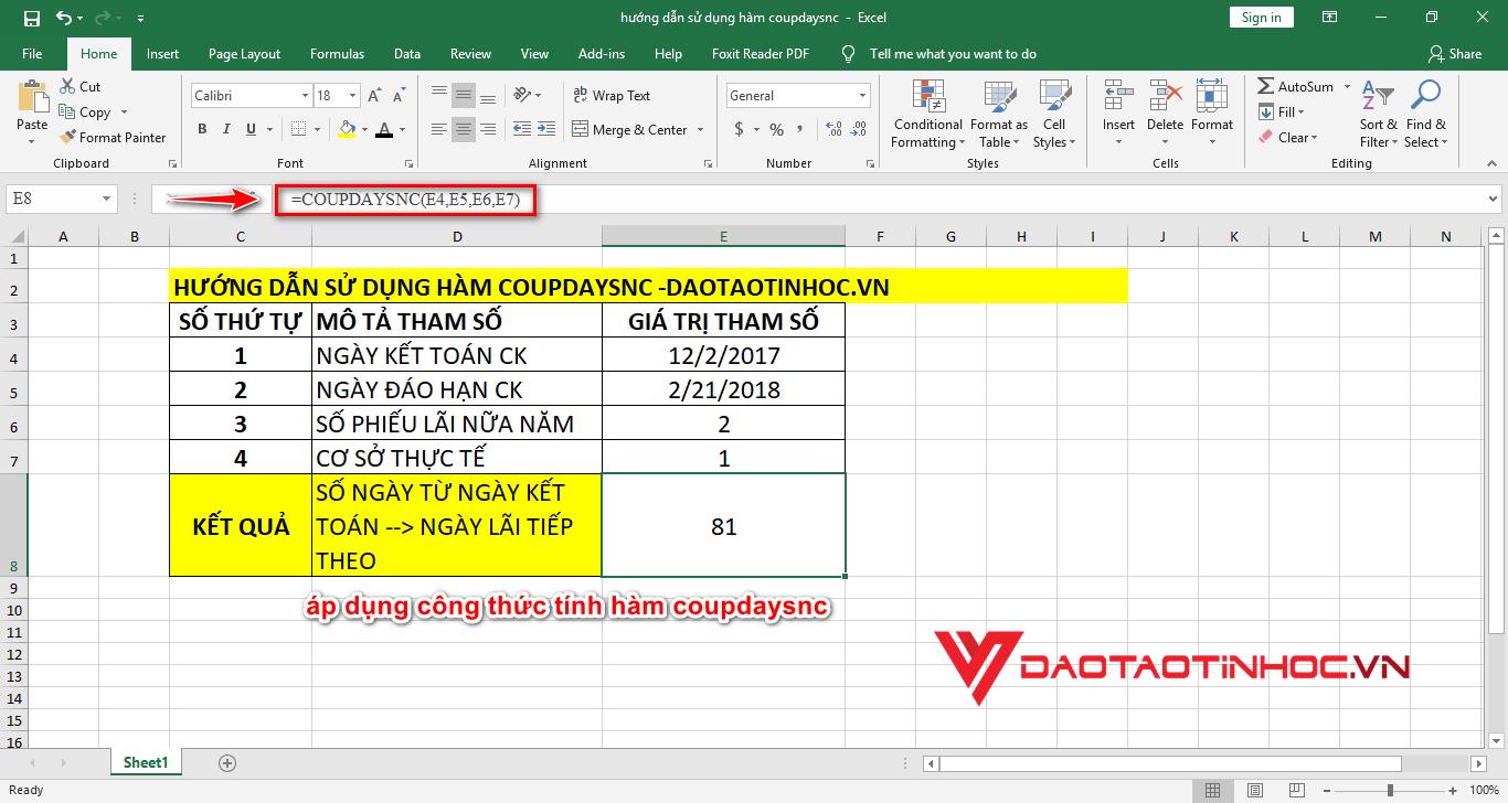 kết quả sử dụng công thức hàm coupdaysnc trong excel