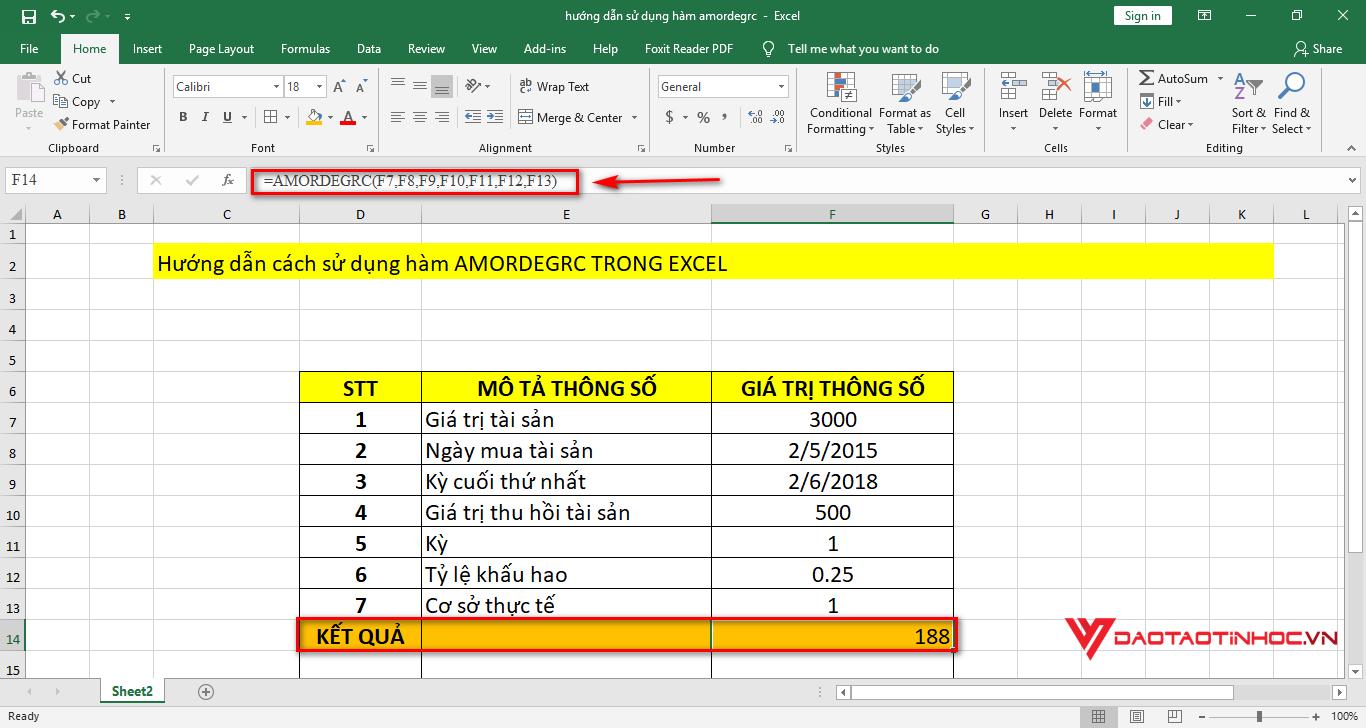 kết quả sử dụng hàm amordegrc