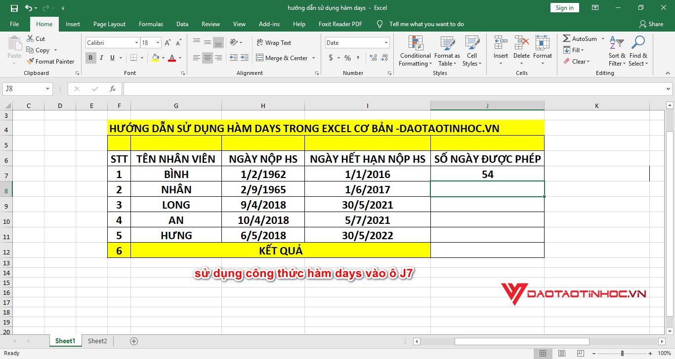 kết quả sử dụng hàm days trong excel