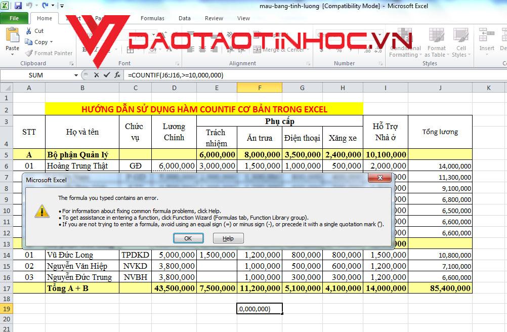 Hướng dẫn sử dụng hàm COUNTIF cơ bản trong Excel