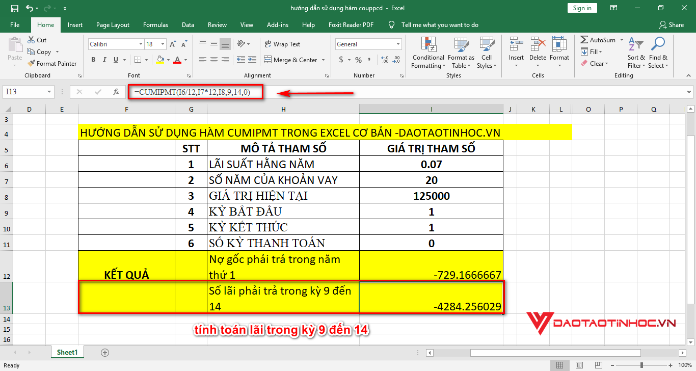 tính toán lãi từ kỳ 9 đến 14