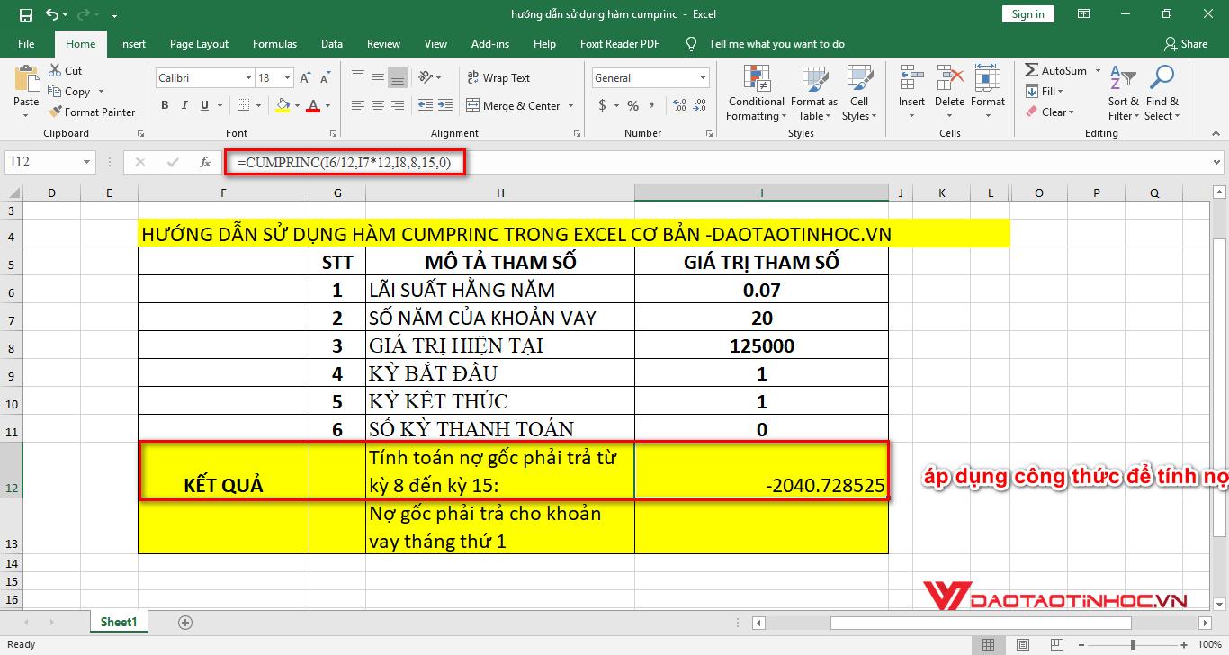 ví dụ 1tính nợ gốc phải trả từ kỳ 8 đến kỳ 15