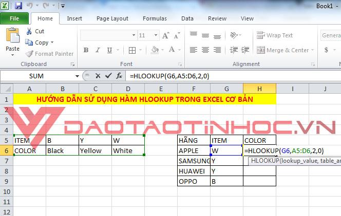Hướng dẫn sử dụng hàm HLOOKUP trong Excel